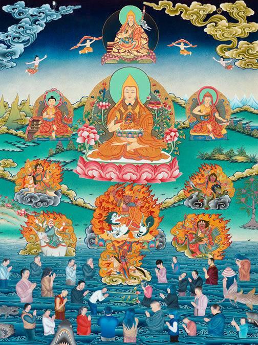 Lama Tsongkhapa thangka with Dorje Shugden as the central Dharma Protector