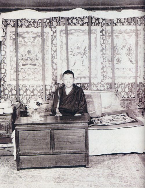 This incarnation of Kyabje Pabongka Rinpoche was after Dechen Nyingpo (the famous one in Tibet) and before the current incarnation. This particular incarnation passed into clear light around 30 years old. (click to enlarge)