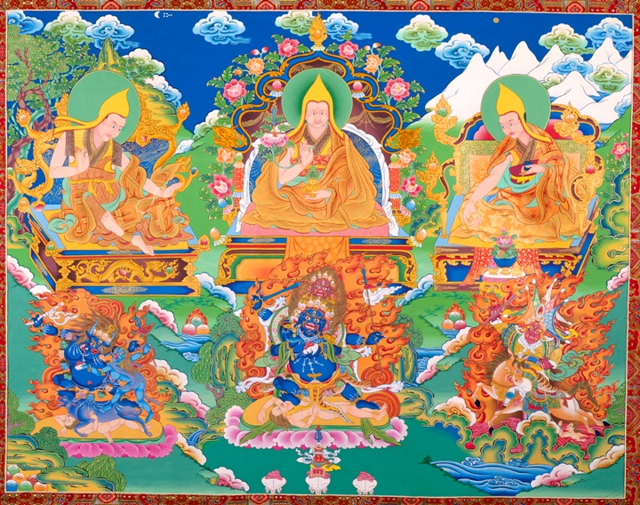 A thangka of the Three Drakpas which is in my collection. Top row, from left to right: Panchen Sonam Drakpa, Tulku Drakpa Gyeltsen, Dulzin Drakpa Gyeltsen. Bottom row, left to right: Kalarupa, Four-Faced Mahakala, Setrap. Click on the image to download the high resolution version.